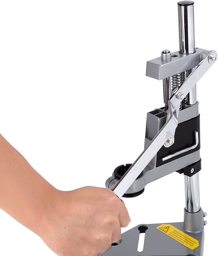 lyrlody Drill Stand,Universal Hand Press Drill Holder Adjustable Drill Bench Press Stand Repair Tool Workbench Pillar Base Clamp for Shop Home Drilling,Height 400mm