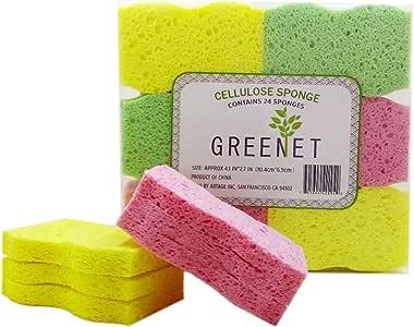 Greenet Esponjas de Limpieza de celulosa - Pack de 24 esponjas de Cocina 100% Natural + 2 Almohadillas de Estropajo Resistentes - Super duraderas, Reutilizables y biodegradables (Normal): Amazon.es: Hogar