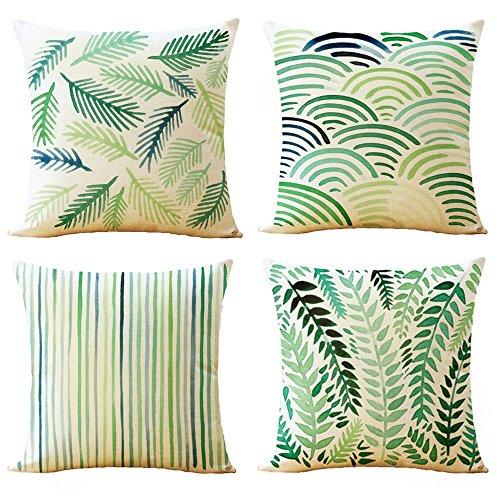 Floral Square Pillow (WOMHOPE 4 Pcs - 18
