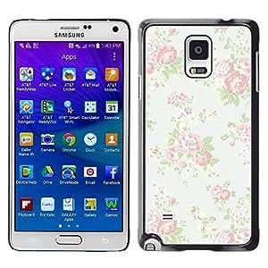 Design for Girls Plastic Cover Case FOR Samsung Galaxy Note 4 Vintage Vignette Retro Wallpaper Floral OBBA