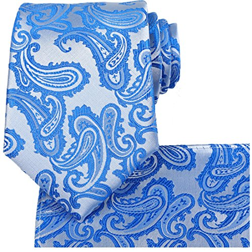 (KissTies Tie Set Blue Paisley Necktie + Pocket Square + Gift)