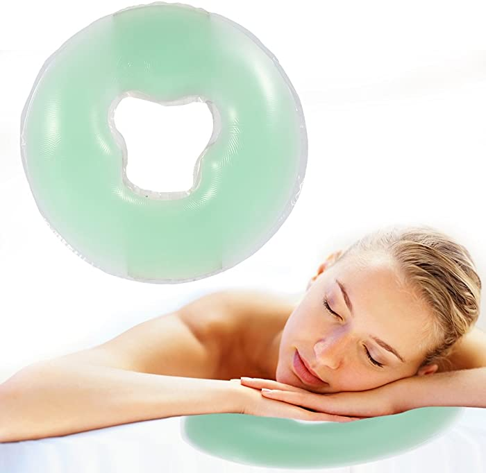 Silicone Pillow Soft Massage Face Relax Pillow Headrest, SPA Beauty Salon Skin Care Soft Overlay Face Relax Weigh Cushion Pad,Salon Care Cushion Silicon Facial Relax Head Cradle Cushion(Light Green)