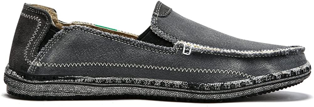 Mens Slip on Deck Shoes Loafers Canvas Boat Shoe Non Slip Casual Loafer Flat Outdoor Sneakers Walking