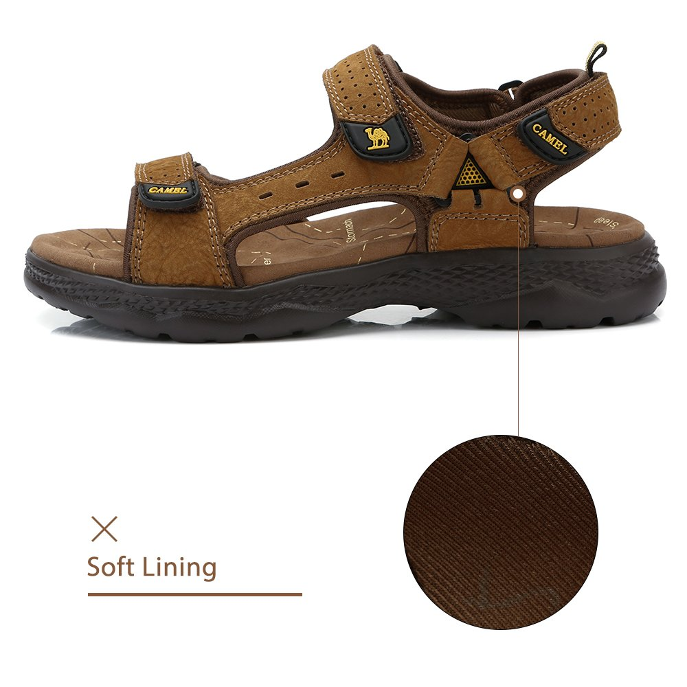 Camel Leather Sandals For Men Strap Athletic Shoes Grips Baseline Tee Shirt Red Hiking Walking Beach Outdoor Summer