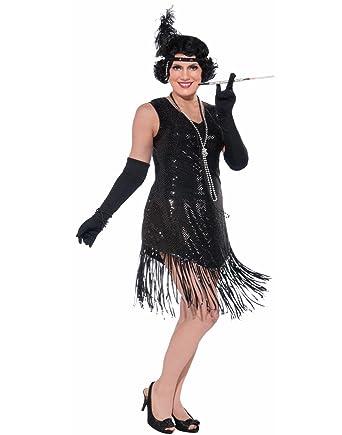 dd85ea19fe Amazon.com  Forum Swinging in Sequence Black Flapper Dress Plus Size   Clothing