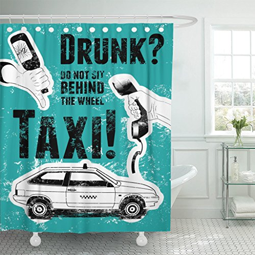 Emvency Fabric Shower Curtain Curtains with Hooks Drink Typographic Retro Grunge Taxi Hand Holds Empty Beer Bottle Telephone Receiver Car Drive Fist Phone Auto 72