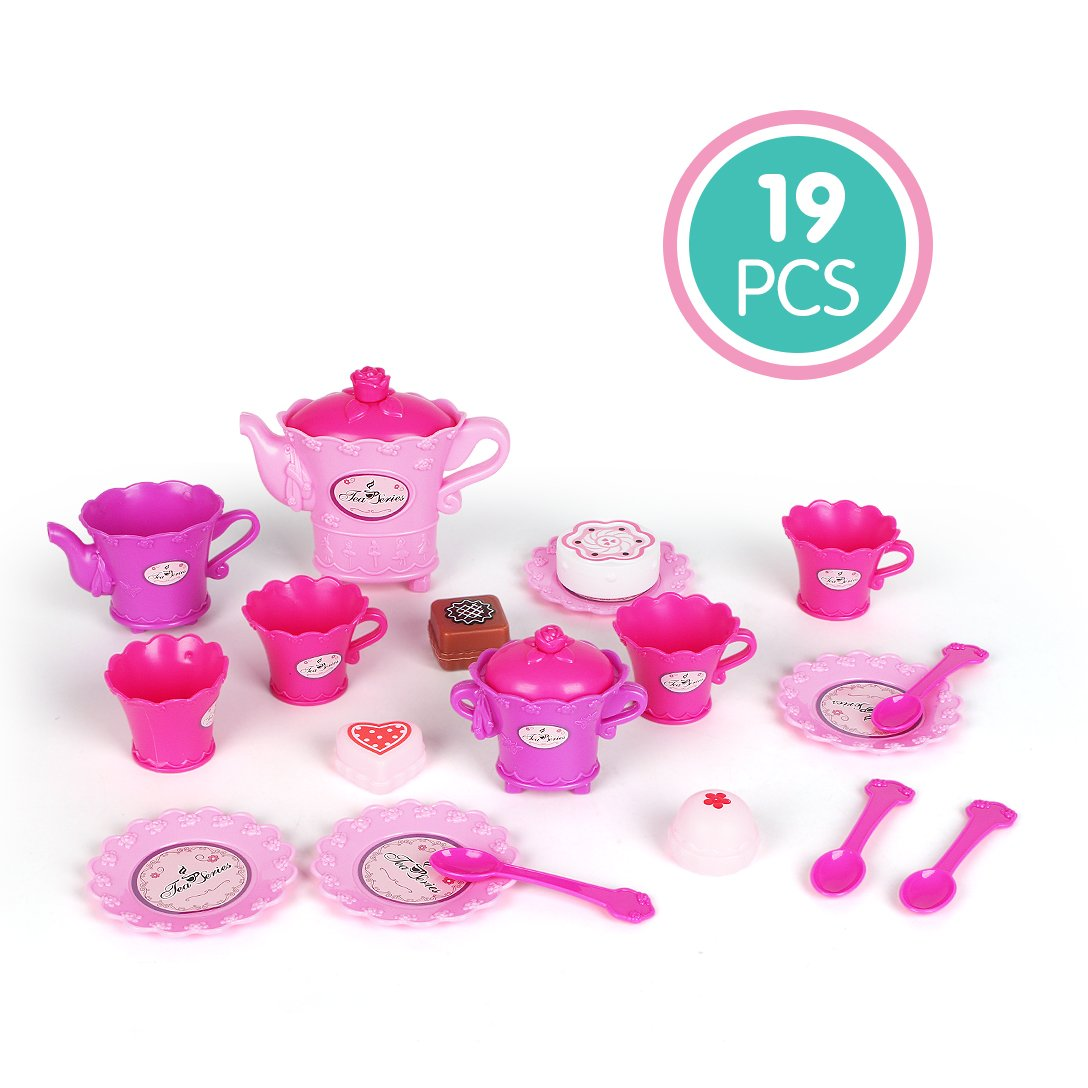Toonol Pretend Play Kitchen set for Kids,19 Pcs Tableware Dishes Toddlers Playset by Toonol