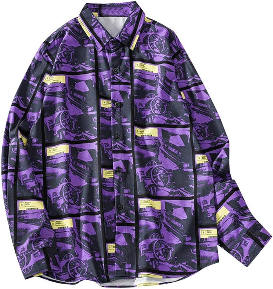 SoonerQuicker Camisa de Hombre Hombres Caen Camiseta de Moda Casual Impresión Camiseta de Playa Blusa de Manga Larga T Shirt tee Blusa(Púrpura M): Amazon.es: Ropa y accesorios