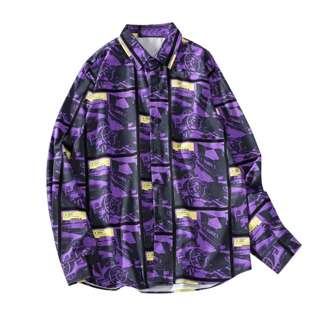 Men Casual Shirts, Long Sleeve Printed Button Blouse Fashion T-Shirt Loose Tee Tops Beach Shirts Plus Size (Purple, L)