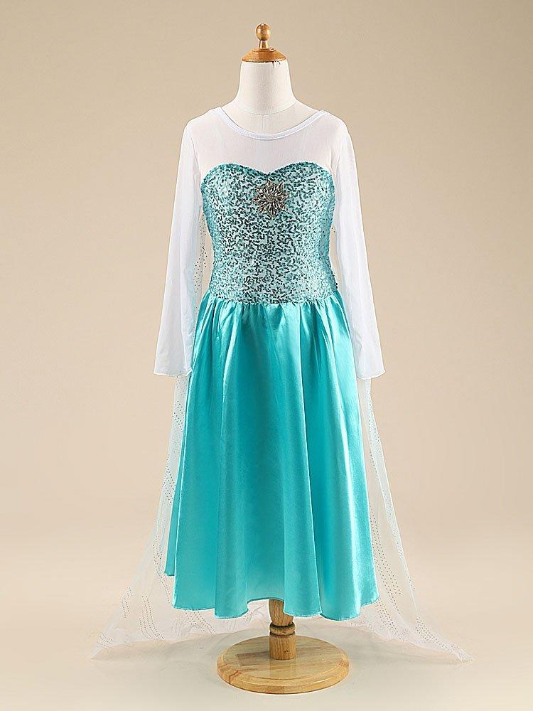 Katara - Vestido de princesa Elsa de Frozen Reina de la Nieve traje de disfraz con lentejuelas y tren de tul, azul-blanco para niñas de 7-8 años: Amazon.es: ...