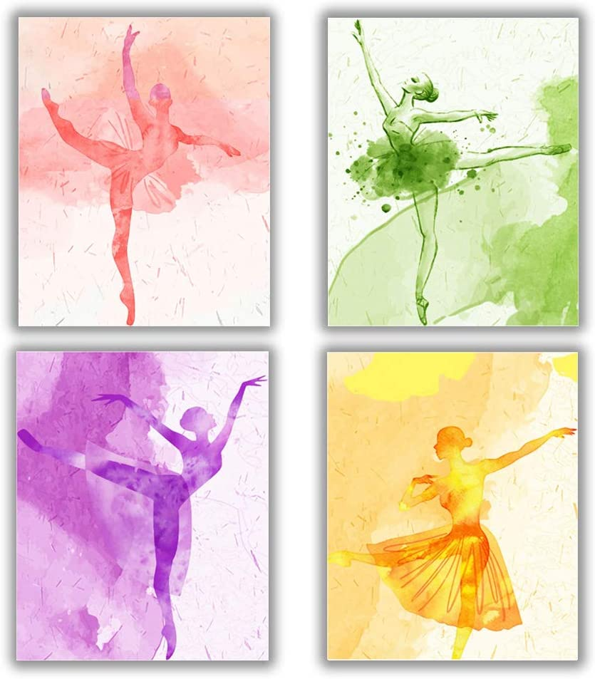"4 Set - Ballet Art Painting Elegant Dancing Canvas Art Pictures - Makeup Wall Art Prints,Ballerina Print Ballet Dancer Collection Poster - Fashion Women or Girl Bedroom Dance room Home Decor Gift - No Frame,8""x10"""