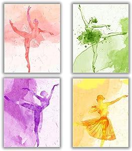 "4 Set - Ballet Art Painting Elegant Dancing Canvas Art Pictures - Makeup Wall Art Prints,Ballerina Print Ballet Dancer Collection Poster - Fashion Women or Girl Bedroom Dance room Home Decor Gift - No Frame,8""x10"""