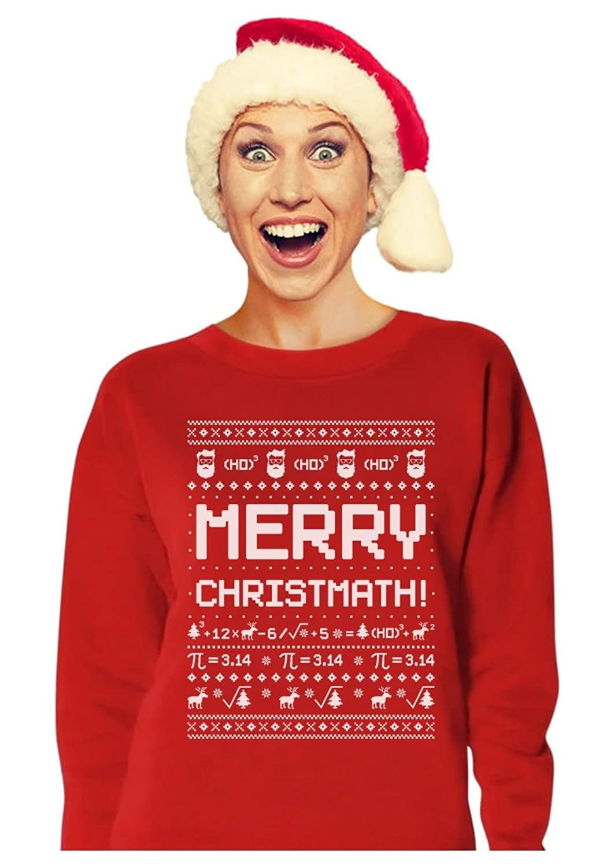 2a4114372 Tstars TeeStars - Merry Christmath Funny Math Ugly Christmas Sweater Women  Sweatshirt