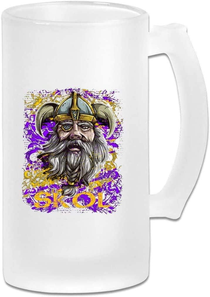 Skol Nordic Scandinavian Viking Warrior Tazas de cerveza esmeriladas Vidrio, Tazas de cerveza de vidrio esmerilado, Jarra de cerveza esmerilada