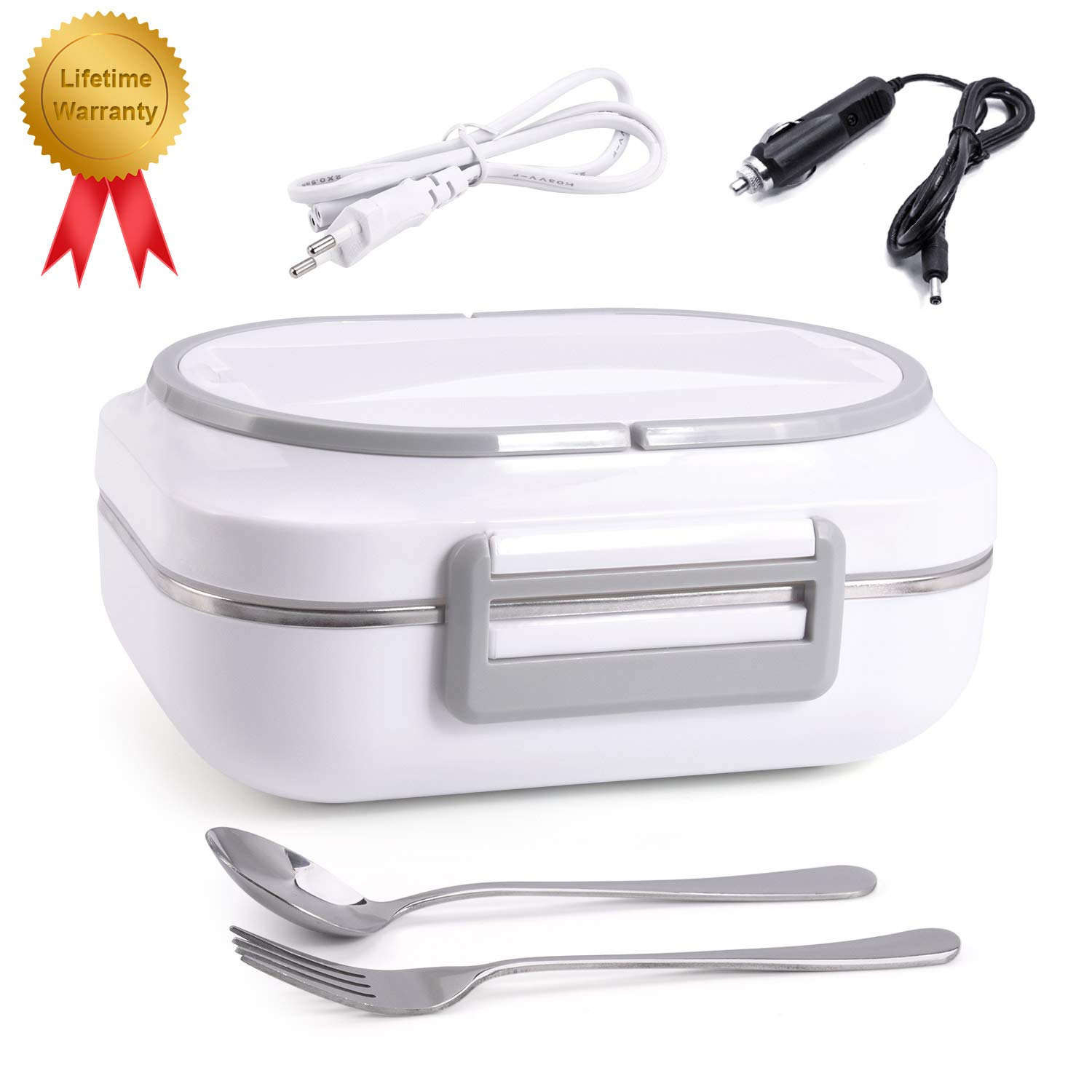 Electric Heating Lunch Box Dual Use Car Home Office Portable Food Heater with Removable 304 Stainless Steel Container