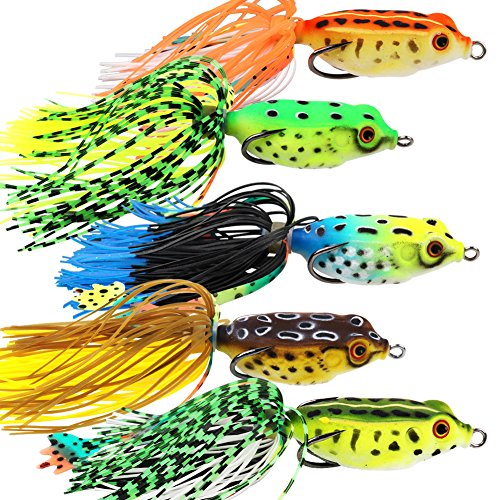 (YONGZHI Fishing Lures Topwater Floating Weedless Lure Frog Baits with Double Sharp Hooks Soft Bait for Bass Snakehead Salmon Freshwater Saltwater Fishing (Mix Style))