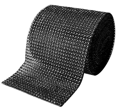 Black Diamond Sparkling Rhinestone Bling Wrap Ribbon Bulk DIY Roll for Event Decorations, Wedding Cake, Bridal/Baby Shower, Birthdays, Arts & Crafts Vase & Party Decorations - 30 Ft - 1 Roll by Royal Imports