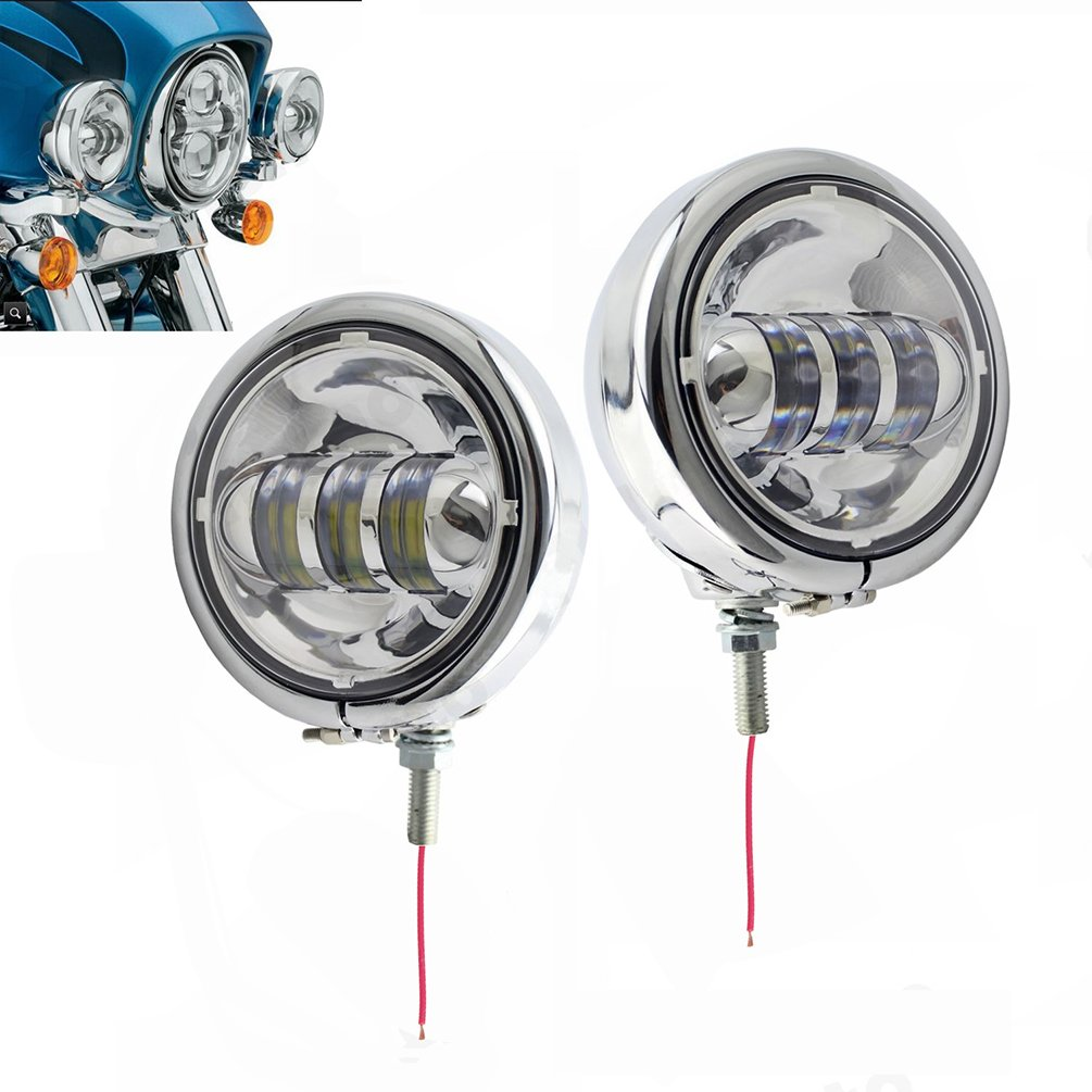 4-1//2 4.5inch Chrome CREE LED Auxiliary Spot Fog Passing Light Lamp with Housing Ring Mount Bracket for Harley Touring Electra Glide Daymaker Fog Lights Projector Spotlight SUNPIE 4333014347