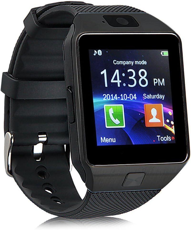 Smart Watch Bluetooth GT08, reloj de pulsera para Android Samsung HTC LG Sony Huawei (todas las funciones), iOS iPhone 5/5S/6/Plus, DZ09 With Camera black