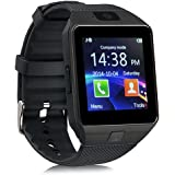 smartwatch ZKCREATION Bluetooth Reloj Inteligente DZ09 smartwatch sim Rastreador Fitness smartwatch Hombre Pulsera Actividad Inteligente whatapp cámaras Waterproof Compatible con Android e iOS(Negro)
