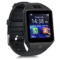 Montre Tactile ZKCREATION smartwatch Bluetooth Montre Intelligente Montre Telephone Montre connectée Homme DZ09 Montre Connect e Traqueur de Fitness Waterproof Compatible avec Android et iOS(Noir)