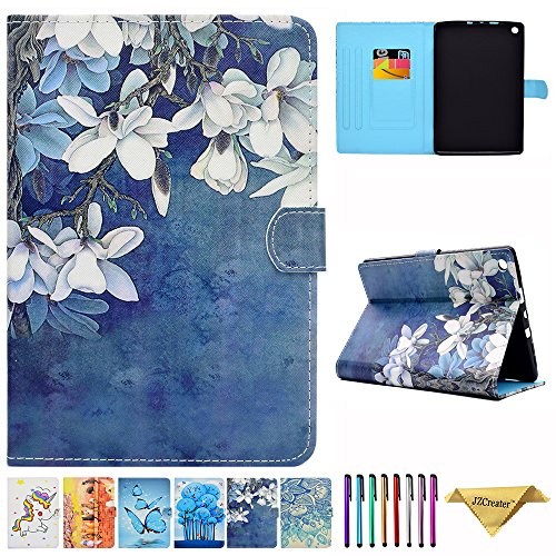 Amazon Kindle Fire HD 8 Case - JZCreater Folio PU Leather Smart Case Cover with Auto Wake/Sleep for All-New Fire HD 8 Tablet (8inch Display 2017 and 2016 Release, 7th / 6th Generation), Flower