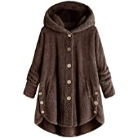 Clearance! Sunfei Fashion Women Button Coat Fluffy Tail Tops Hooded Pullover Loose Sweater with Pocket