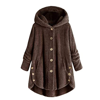 Womens Cozy Winter Faux Fur Fleece Button Sherpa Coat Pockets Fluffy Tail  Tops Hooded Pullover  Amazon.co.uk  DIY   Tools f03852f72