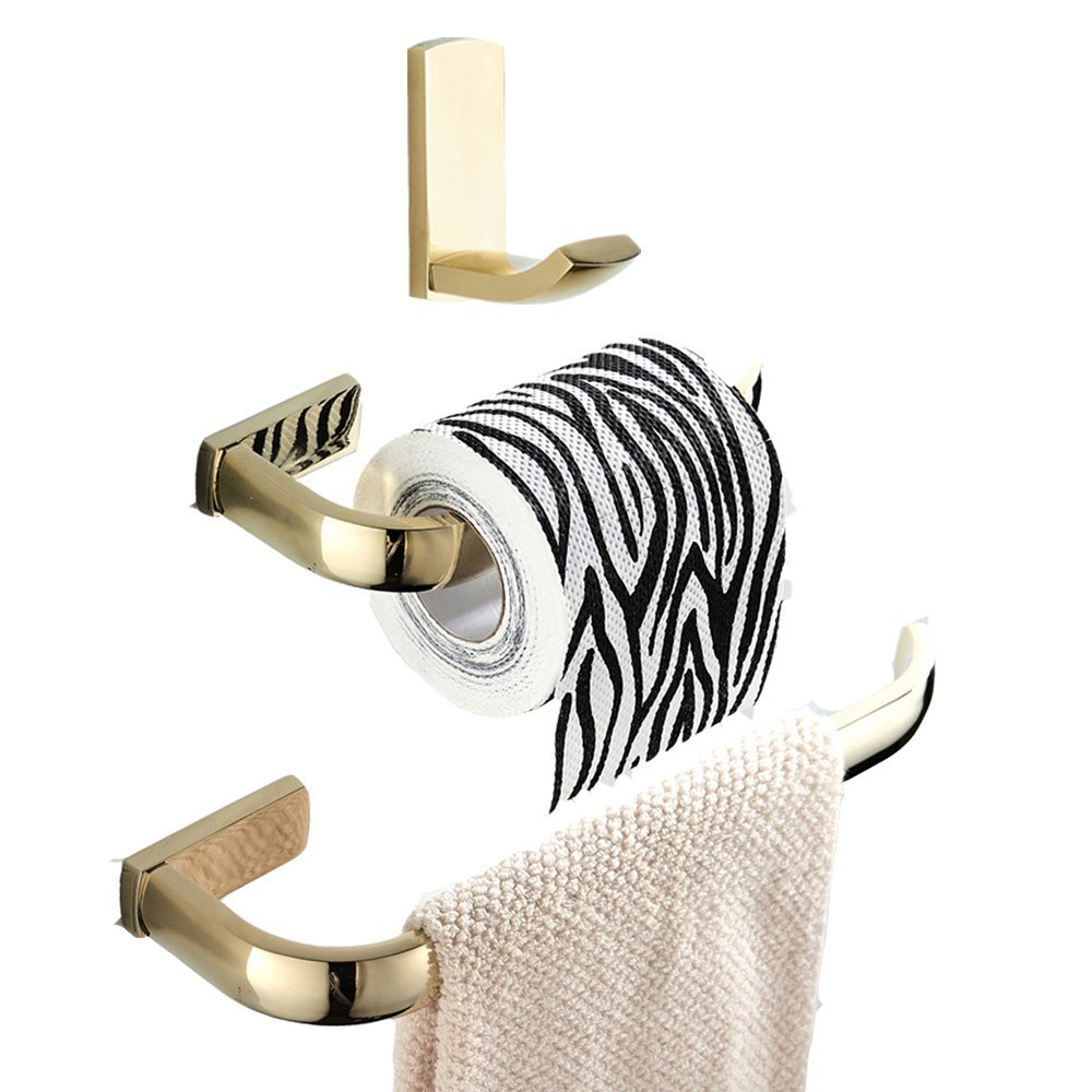 BigBig Home Brass Bath Accessories Simplified Design Gold Finish Bath Hardware Set, Towel Ring Toilet Paper Holder Bathroom Hook Brass, Simple Style, Wall Mounted 3 Pieces