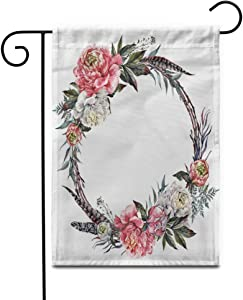 """Awowee 28""""x40"""" Garden Flag Watercolor Floral Wreath Made of Peonies Leaves Pheasant Feathers Outdoor Home Decor Double Sided Yard Flags Banner for Patio Lawn"""
