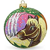 BestPysanky 4'' Horse in the Forest, Animal Glass Ball Christmas Ornament