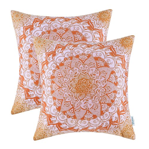 Pack of 2 Euphoria CaliTime Throw Pillow Covers, 18 X 18 Inches, Vintage Mandala Floral, Main Orange