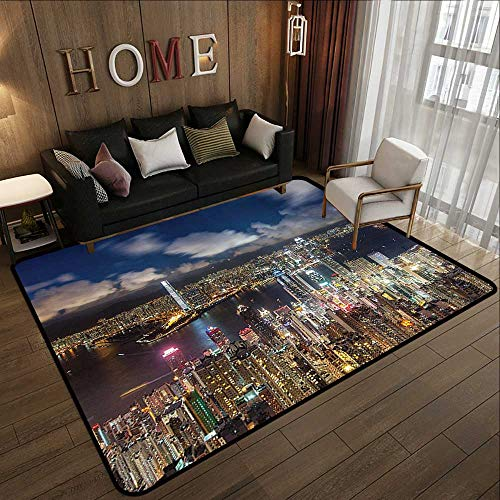 Natural Fiber Area Rug,Fabric,Night View Hong Kong Victoria Harbor Business Financial District Cityscape Print,Multi Color 78.7