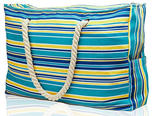 Beach Bag Large w/ 100% Waterproof Phone Case, Top Zipper, Cotton Rope Handles, Extra Outside Pocket. Turquoise Stripe Canvas Shoulder Beach Tote has Built-In Keyholder, Bottle Opener - L22