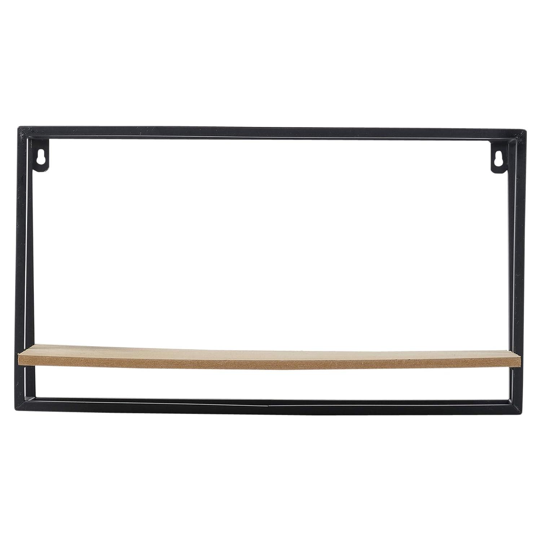 URBNLIVING Scaffale Rustico in Metallo Nero e Legno per Interni 1 Shelf Narrow