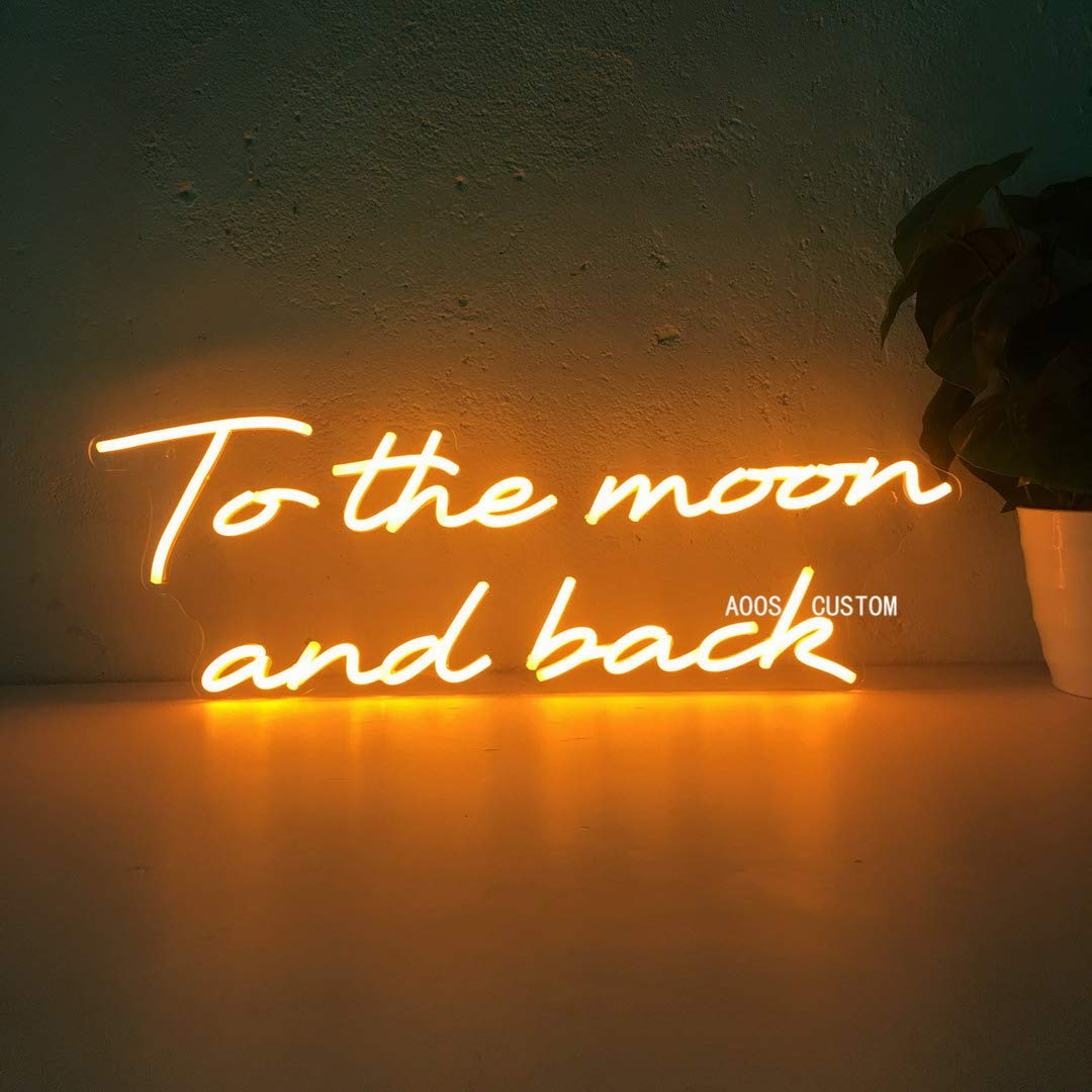 To The Moon And Back Custom Dimmable LED Neon Signs for Wall Decor (Customization Options: Color, Size, Dimming, Wall Mounted, Desktop, Electrical/Battery powered)