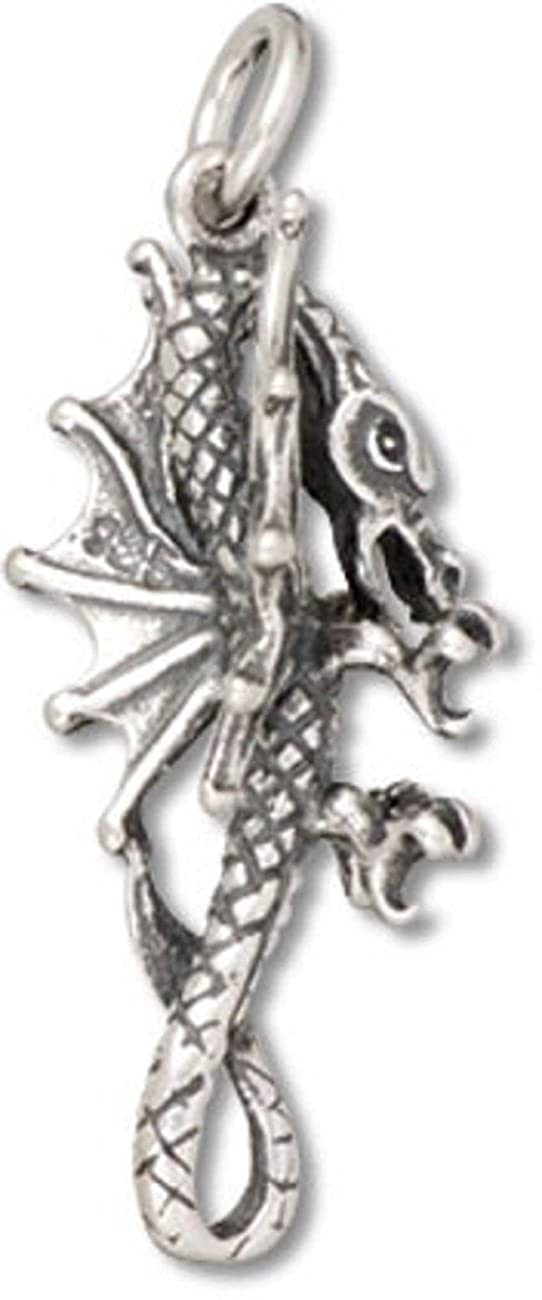 Sterling Silver 7 4.5mm Charm Bracelet With Attached 3D Standing Fantasy Dragon Charm
