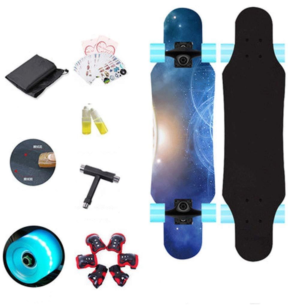 YHDD ロングボードフラッシュホイール子供初心者四輪スケートボード十代の少女男の子子供スケートボード (色 : D) D