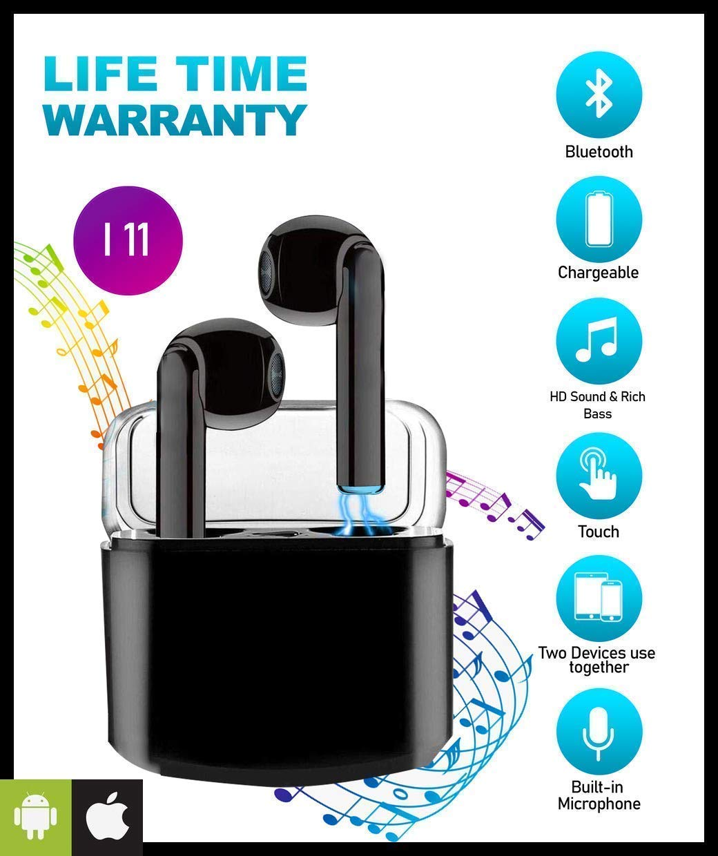 【2020 New Version】 Priish I11 TWS Sound Wireless Bluetooth Earphone Earbud Headphone Handsfree Sports Running Sweatproof Compatible iOS Android Noise Cancellation Charging Case Mic