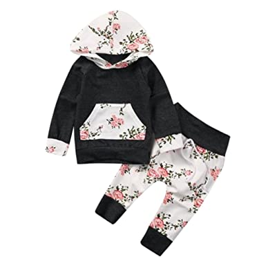 e37a2fa4d962 Kids Newborn Baby Floral Hooded T Shirt and Baby Pants Tracksuit Gym Outfit  Set: Amazon.co.uk: Clothing