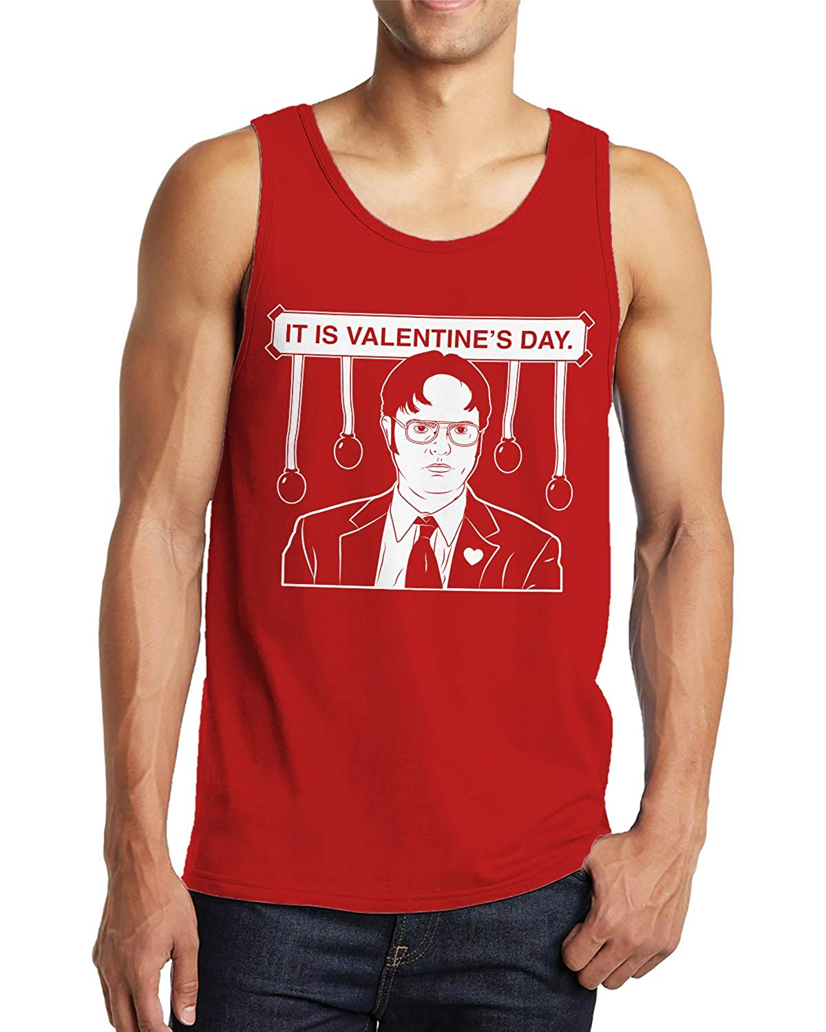 SpiritForged Apparel Dwight It is Valentines Day Mens Tank Top