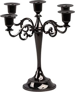 Viscacha 5-Candle Metal Candelabra Candlesticks Holder for Formal Events, Wedding, Church, Holiday Décor, Halloween Taper Candle Holder Stand Centerpiece Elegant Decoration Piece for Table,Gun Black