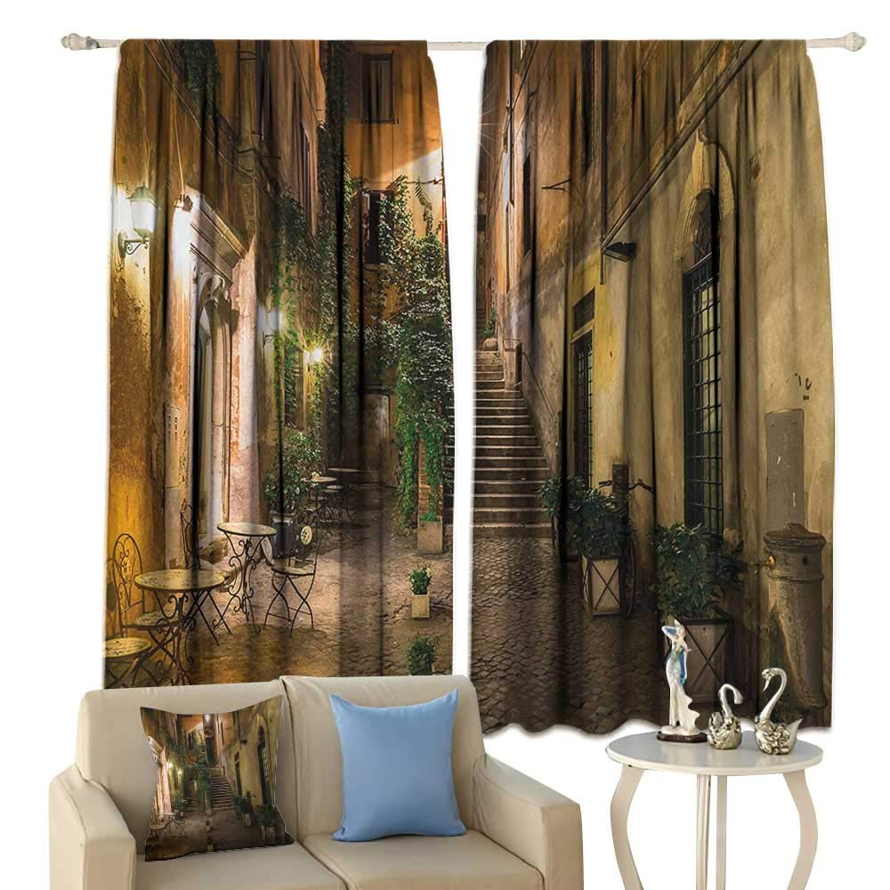 Italian, Thermal Insulating Blackout Curtain, Old Courtyard Rome Italy Cafe Chairs City Historic Ambience Houses Street, Blackout Draperies for Bedroom,(W55 x L39 Inch, Orange Brown Green