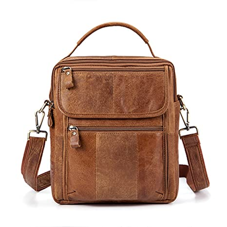 8bdefda1765c Amazon.com: Leather Bag Top-Handle Men Bags Male Shoulder Crossbody ...