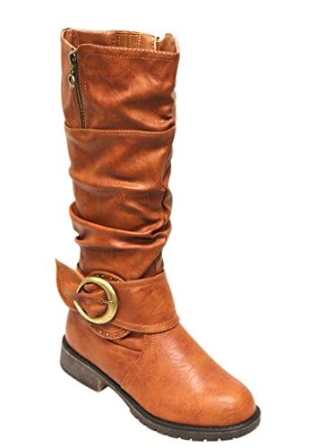 729a8807663 Top Moda Ham-2 Women s Round Toe Bead Buckle Ankle Strap Slouchy Side zips  mid