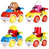VATOS Set of 4 Toddler Toys Vehicles, Friction Powered Cars, Cartoon Push and Go Car Toy Play Set, Early Educational Toys for 1-4 Years Old Boys and Girls