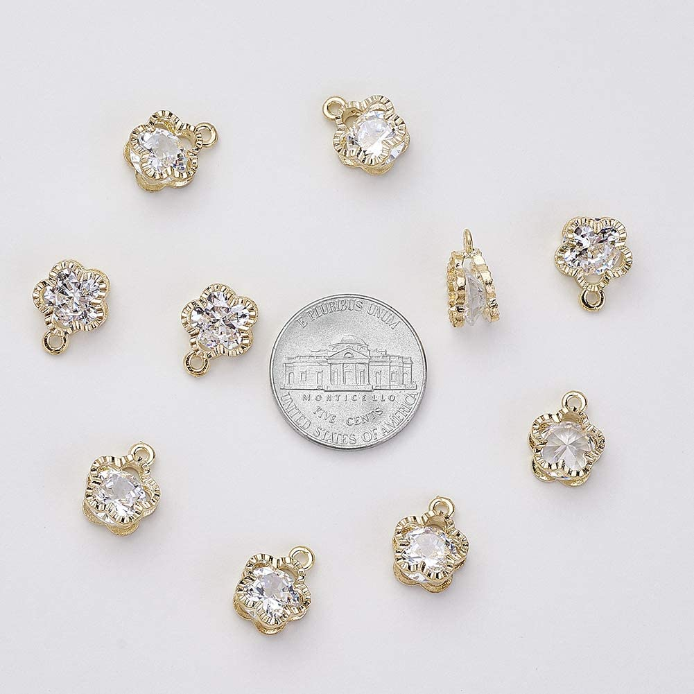 Beadthoven 100pcs Cubic Zirconia Alloy Charms Drop Shaped KC Gold Pendants for Jewelry Making Choker Tiny Dangle Accessories