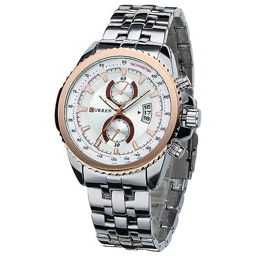Curren Reloj para Hombre de Moda Vestido Casual Reloj de Pulsera Curren 8082 Fecha de visualización: Amazon.es: Relojes