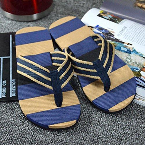 Ularma Herren Strandsandale Platform Hausschuhe EVA Streifen Flip-Flop Blau