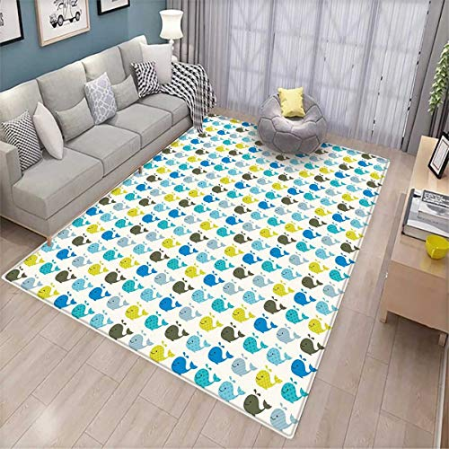 Baby Bath Mats Carpet Whales in Various Designs Stripes Stars Squares and Dots Cute Aquatic Mammals Pattern Door Mats for Inside Non Slip Backing Multicolor -